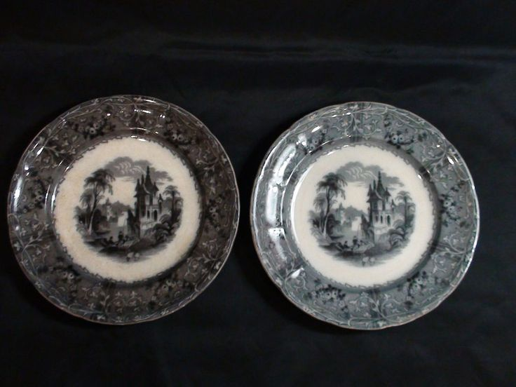 "Set of 2 TJ & J Mayer Rhone Scene Flow Black Mulberry Transfer 10 1/2"" plates 