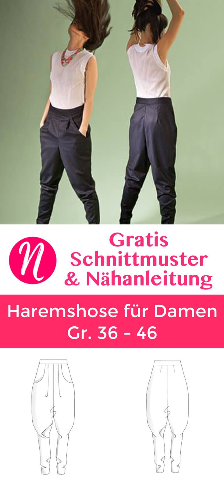 Kostenloses Schnittmuster für eine Haremshose für Damen ❤ Casual-Look: bequem und cool ❤ PDF-Schnittmuster Gr. 36 - 46 ❤ ✂ Nähtalente.de ✂ Free sewing pattern for slouchy woman trouser in size 36 - 46.