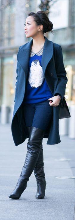 Penguin Lady :: Sequin sweater & Wool coat      http://www.wendyslookbook.com/2013/12/penguin-lady-sequin-sweater-wool-coat/