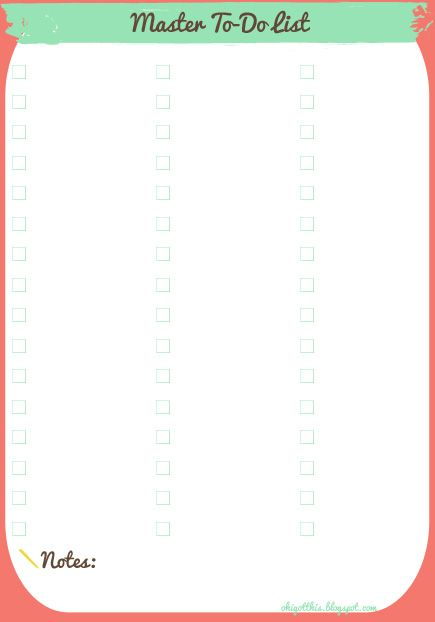 41 best Printables (to do list) images on Pinterest Free - printable list