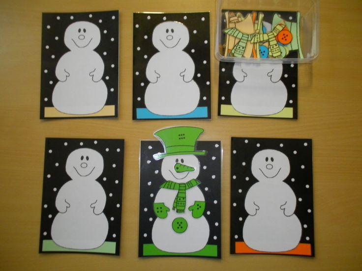 Sneeuwmannen aankleden: spel met dobbelsteen *liestr*