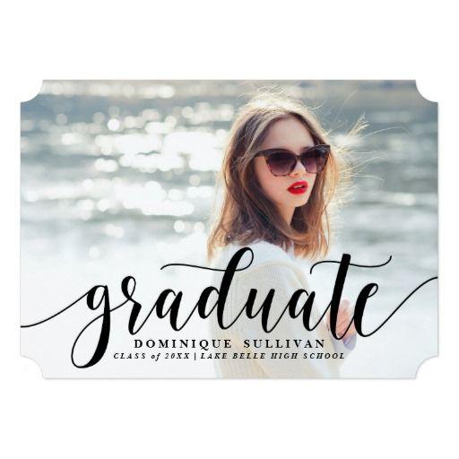 Black Modern Calligraphy Graduation Announcement Graduation Invitation Card 2016