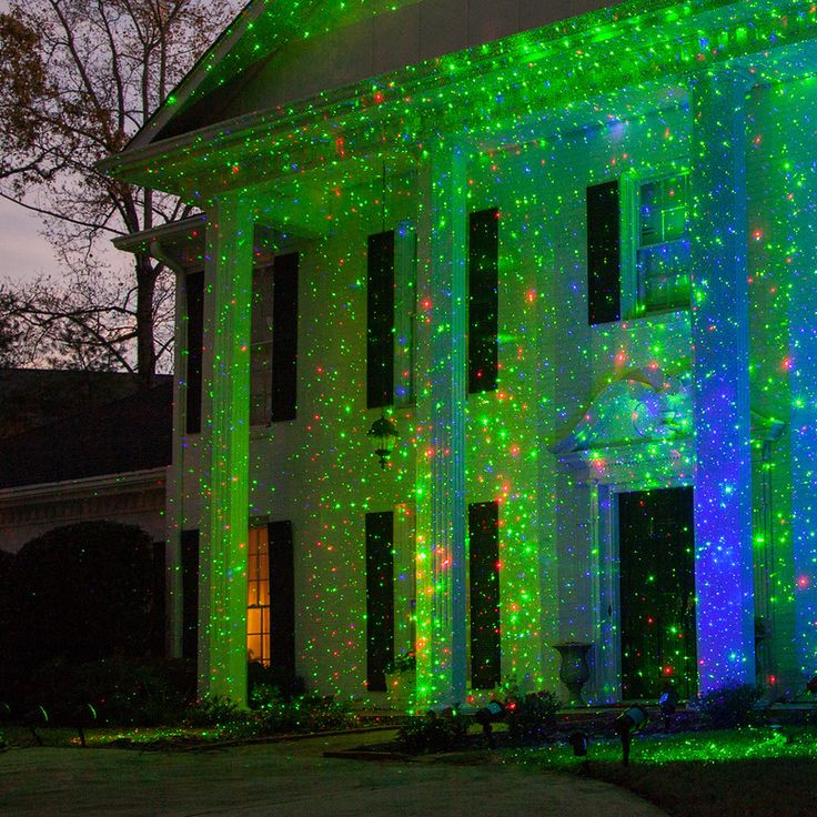 Green / Red X500 Laser Christmas Light Projector - place different color laser lights in the yard, against a tree line or pointing toward the house front to create an eye catching outdoor Christmas display in no time!