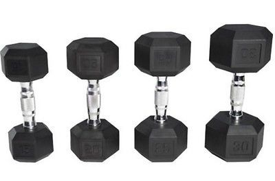 Rubber Coated Hex Dumbbells Set of 2 Dumbbell Set Pairs Black Training Weight