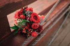 Red wedding flowers.  #wedding #bouquet