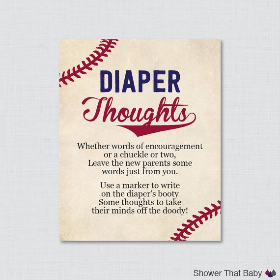 Baseball Baby Shower Diaper Thoughts Game  by ShowerThatBaby
