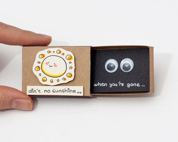 "Funny Missing you Card / Cute Thinking of you Card/ Gift box / Message box "" Ain't no sunshine when you're gone"""