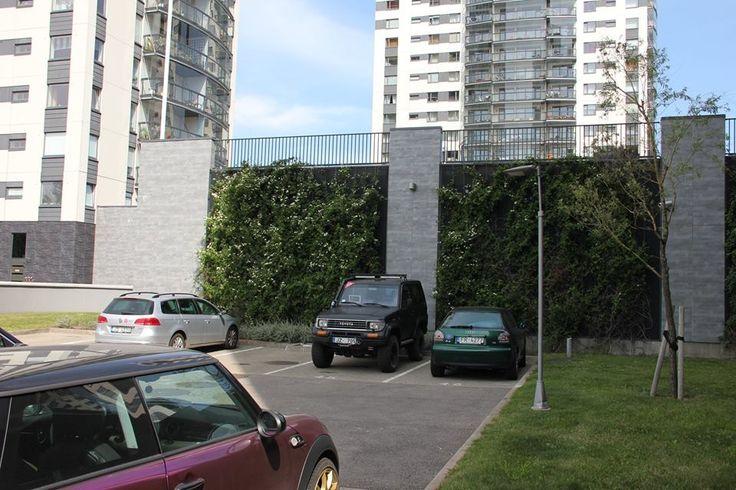RIGA, SKANSTES VIRSOTNES. Зеленые технологии в трактовке стоянки для машин между башнями высотной застройки. Стены, окружающие 2 этажа стоянки, покрыты вьющейся растительностью. От этого они напрочь лишены качества бетонной массивности, не говоря уже о позитиве с экологическими качествами среды ... Или как строить высотные здания с природой...