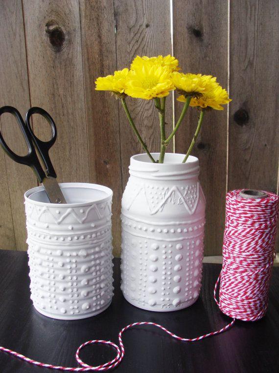 Upcycled Shabby Chic Mason Jars #Shabby #Chic #jars