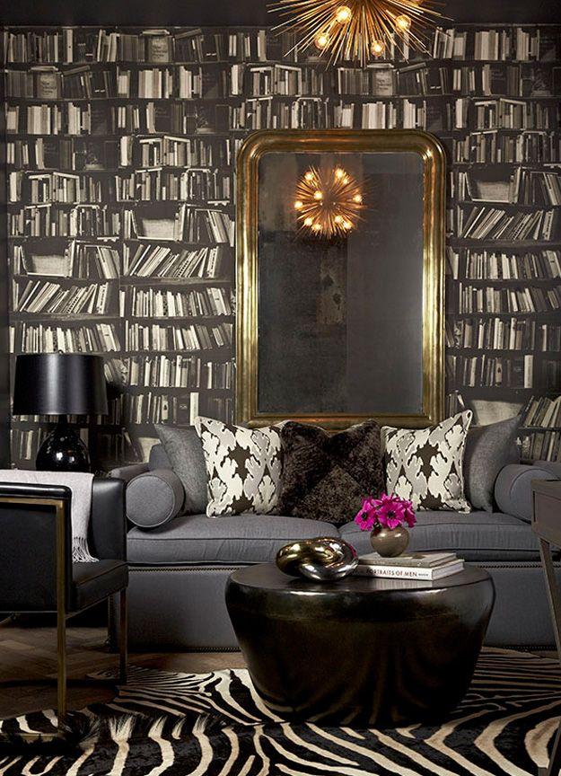 Black bookshelf wallpaper