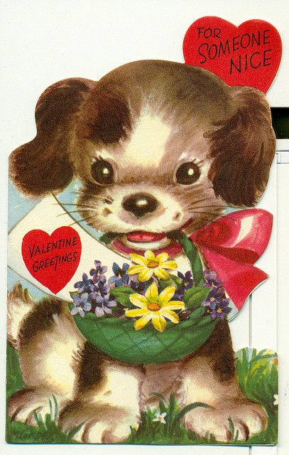 Vintage Valentine Puppy ♥ * 1500 free paper dolls at Arielle Gabriel's The International Paper Doll Society and The China Adventures of Arielle Gabriel for Chinese and Japanese paper dolls free *