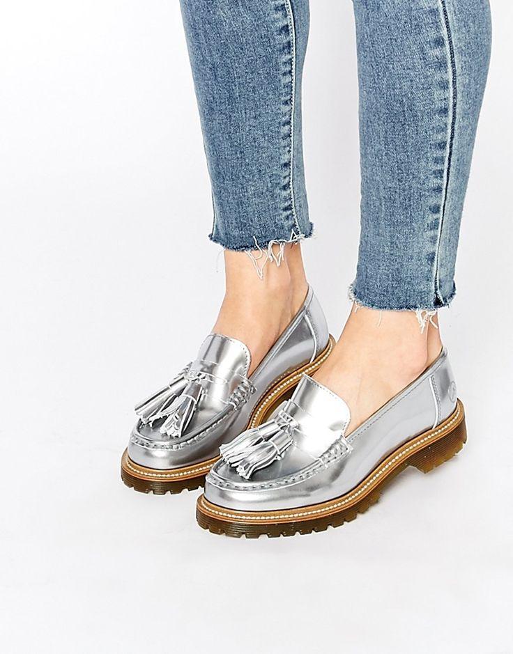 Bronx Silver Tassel Loafer Flat Shoes