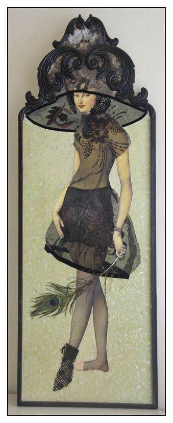 "Margriet Thissen/ Wandpaneel ""Grand Deuil"". Ca 120x50 cm. Verkocht. Margriet Thissen, wall panel ""Grand Deuil"". Approx  47x19,5"". Sold."