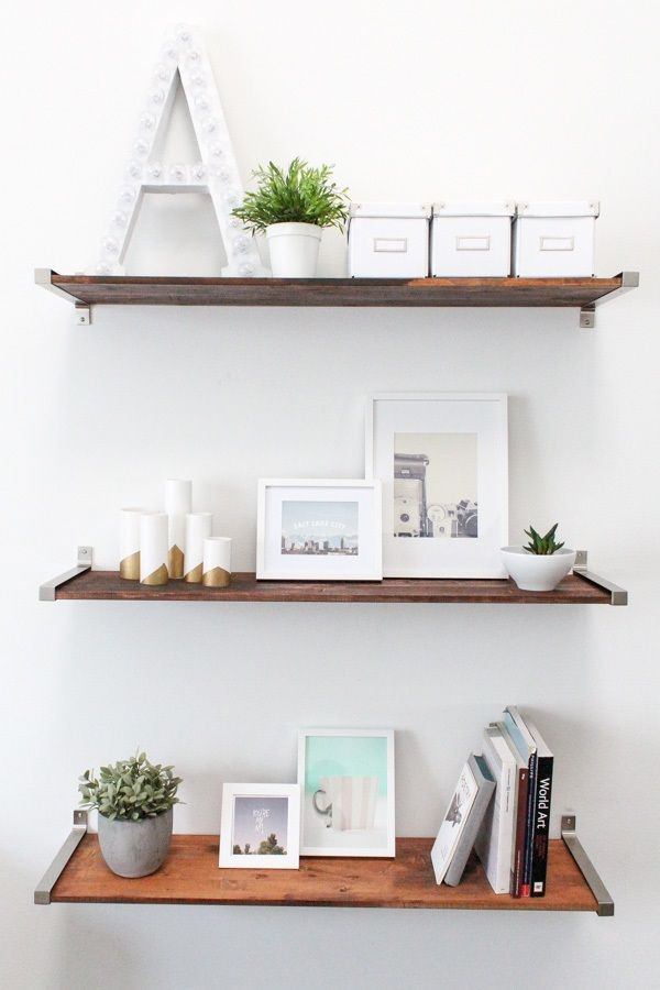 IKEA HACK DISTRESSED WOODEN SHELVES. These shelves on kitchen wall above trash can.
