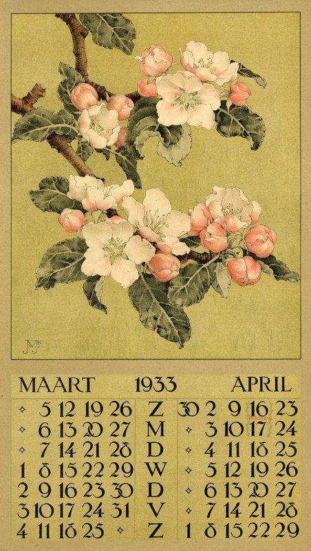 Календарь на 1933 год. Художник - Jan Voerman Jr.(1890-1970)Голландия.