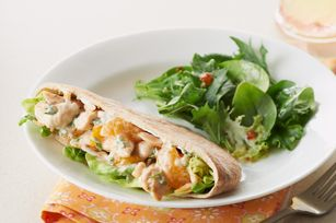 Citrus-Chicken Salad Pita Pockets recipe.  Im going to use miracle whip, no almonds, and spinach...because thats whats in the kitchen! :)
