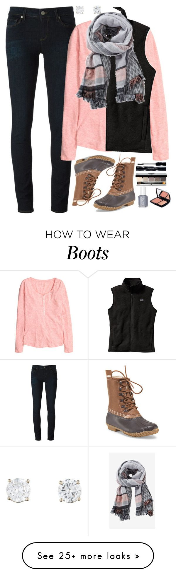 """""""Duck Boots"""" by hayleighbrown11 on Polyvore featuring Paige Denim, H&M, Patagonia, Express, Essie, Shiseido, Lancôme and Bobbi Brown Cosmetics"""