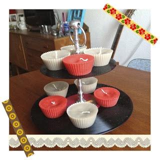 kaarsen gieten in cupcake vormpjes - door Tante Jannie