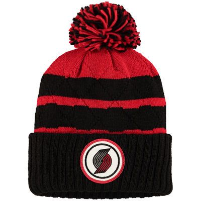 Portland Trail Blazers Mitchell & Ness Quilted Stripe High 5 Cuffed Knit Hat with Pom - Black/Red