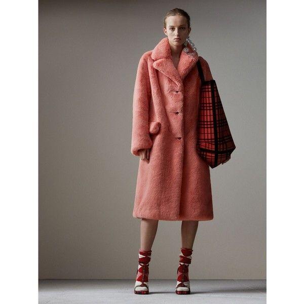 Faux Fur Single-breasted Coat in Pale Pink - Women