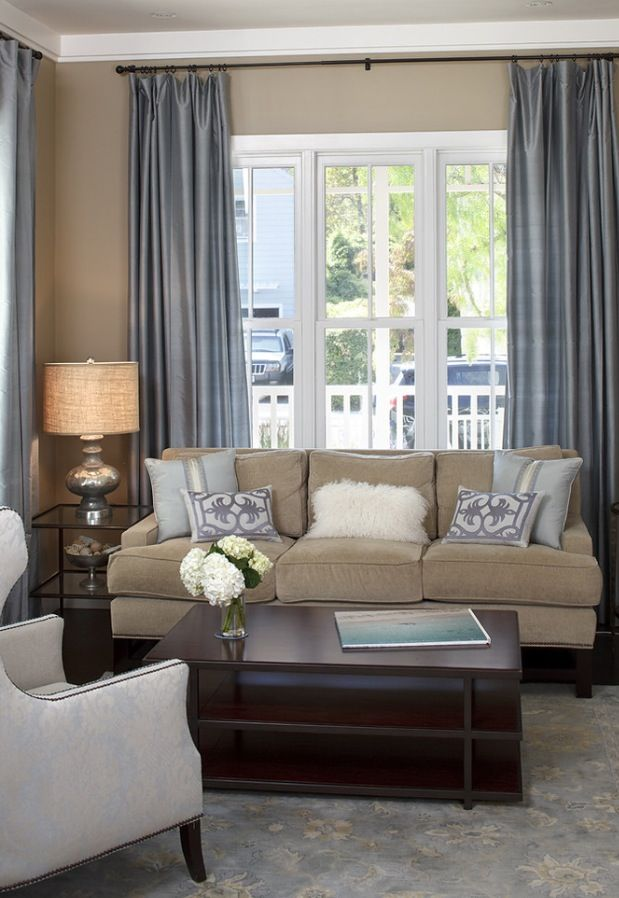 Tan Walls Grey Curtains Grey And White Area Rug Navy White