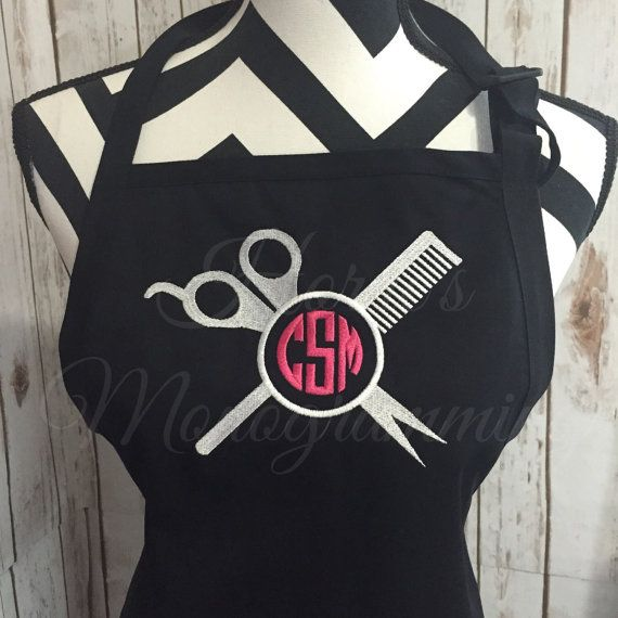 Comb and Shears Monogrammed Apron by HornesMonogramming on Etsy. I ABSOLUTELY love this!