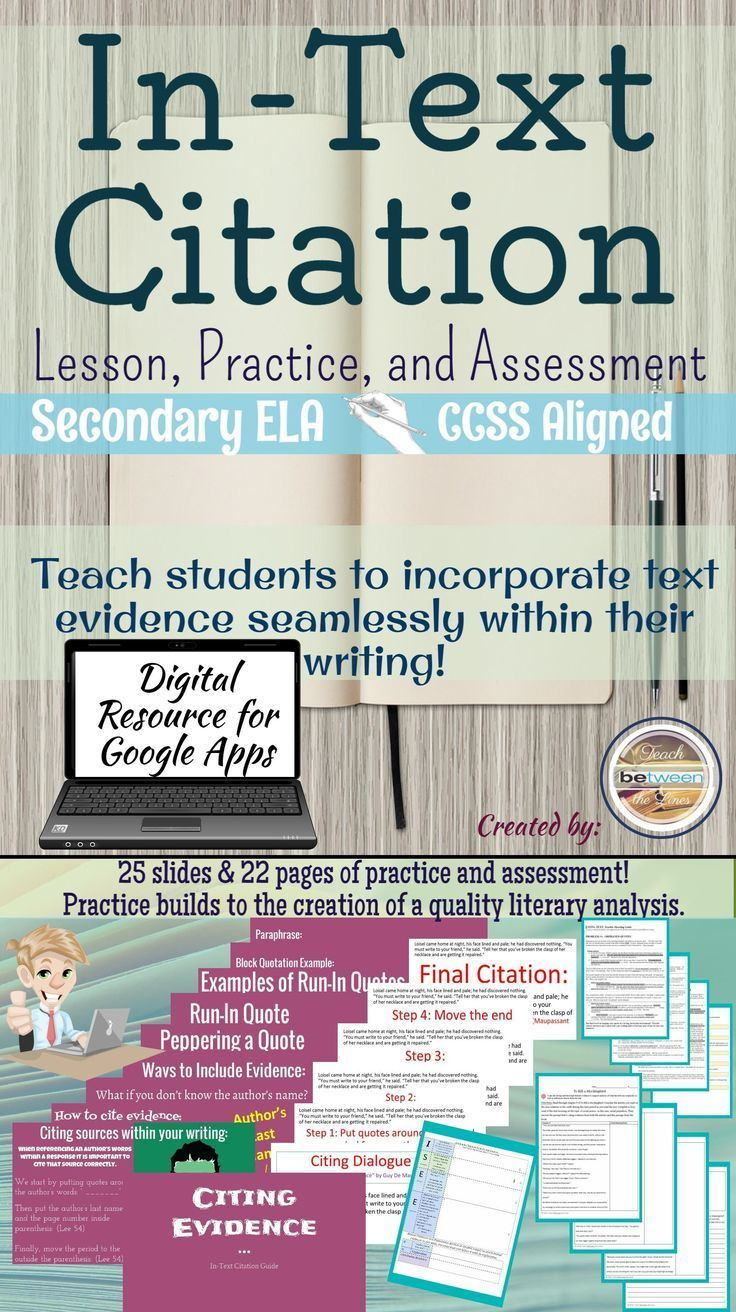 Mla 8th Edition In Text Citation Unit Citing And Embedding Textual Evidence Middle School Writing Teaching How To Incorporate A Paraphrase Into An Essay