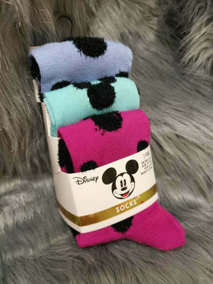 Ladies Girls DISNEY MICKEY MOUSE Trainer Socks Shoe Liners 3 Pair Pack Different Designs Size 4-8