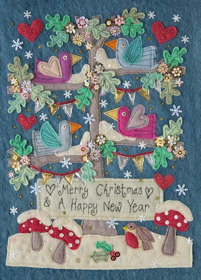 Christmas felt. I love everything about this soft color pallet and simple sentiment and hope to make something like this from felt!