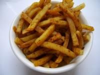 Masala French Fries recipe.  2 potato, large and long in size1 ½  tbsp corn flour1 tsp vinegar½ tsp sugar2 tbsp ginger, garlic, green chilli pasteoil to cooksalt to tastechat masala