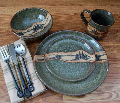 images of log cabin dishes and silverware settings | ... Cabin & Lodge Dinnerware » Rustic Mountain Scene Dinnerware Set