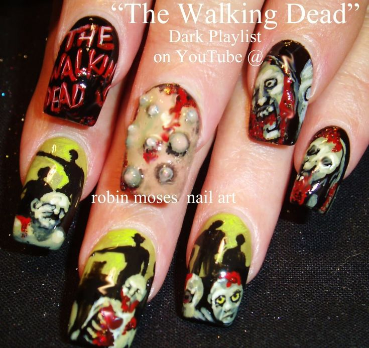 166 best halloween nail art pictures with tutorials images on 10 nail art tutorials diy halloween nail art design the walking dead prinsesfo Images