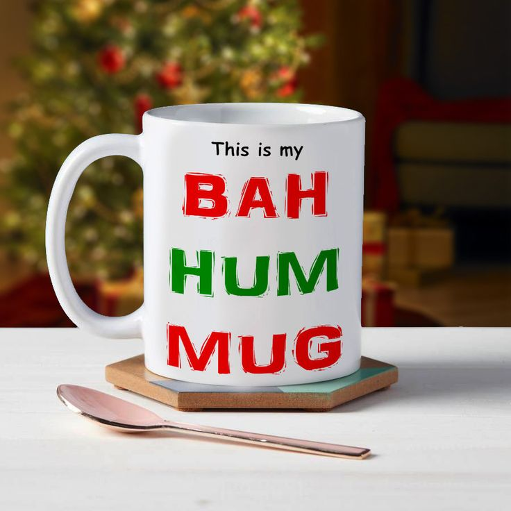Christmas Bah Hum Mug Novelty Funny Stocking Filler Gift Present Tea Cup Coffee Hot Drinks by ThePrintingCabin on Etsy