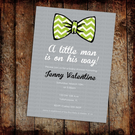 Perfect for AR!  baby boy shower invitation with bow tie, digital, printable file (item 1266). $13.00, via Etsy.