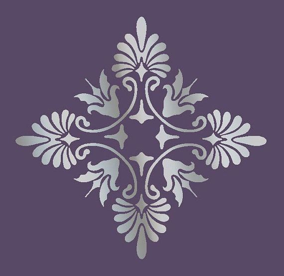 Large wall damask stencil pattern faux mural 1017 for Damask wall mural