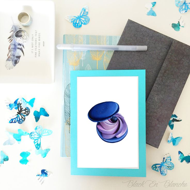 Blank Greeting Card / Blue Lavender Macaron / Handmade Card / Blank Card / Note Card / Food Card / Stationery / Thank you / Happy Birthday by BlackEnBlanche on Etsy