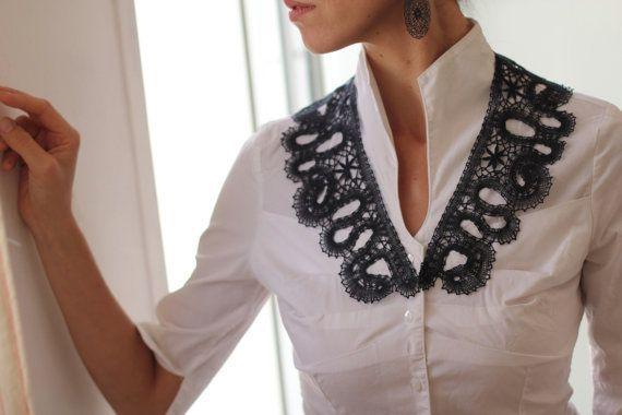 Delicate Russian bobbin lace black collar