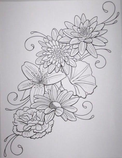 dahlia tattoo black and white - Google Search