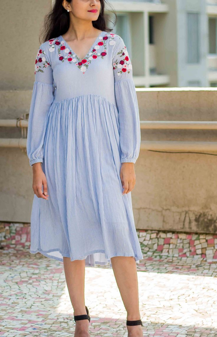 Blue stripe Floral emb crinkle rayon - Dress