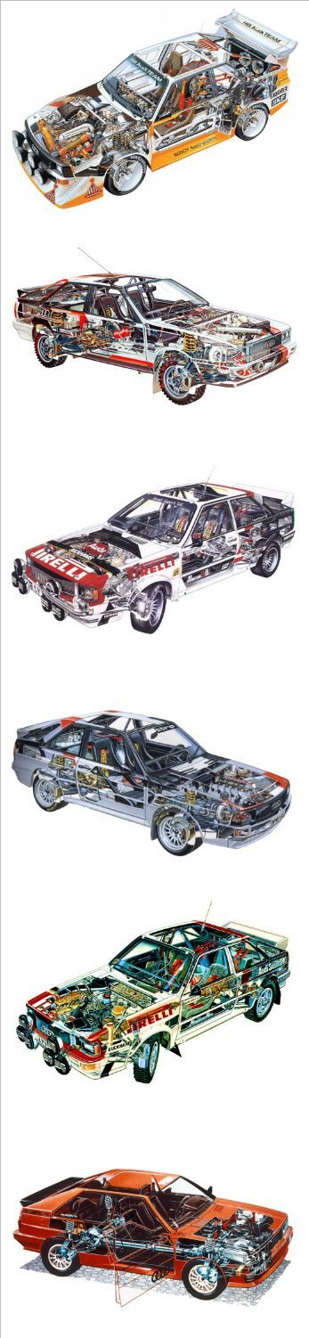 Top >> Bottom Audi Quattro Cutaway Collection | Source 1, 2, 3, 4 ,5 and 6 1985-1986 | Audi Sport Quattro S1 Group B Rally 1980 | Audi Quattro Rally Car (Typ 85) 1981-1982 | Audi quattro Group 4 Rally Car (Typ 85) 1984 | Audi Sport Quattro Group B Rally Car 1981-1982 | Audi quattro Group 4 Rally Car (Typ 85) 1980-1983 | Audi quattro (Typ 85)