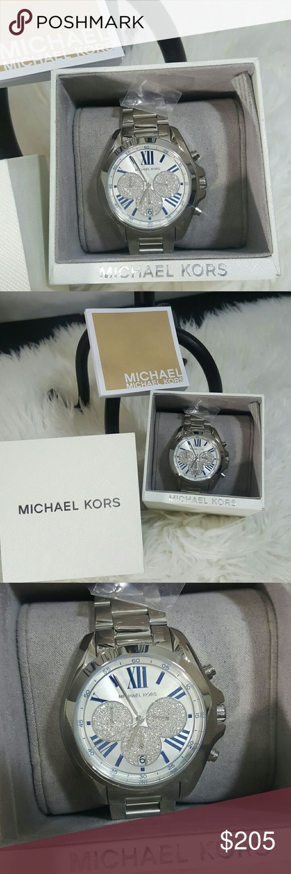 Nwt authentic Michael Kors Mickey,, watch This watch is a collectible,  beautiful silver with bling,, can be dressed up or down,blue Roman numeral numbers, stunning watch unisex Michael Kors Accessories Watches