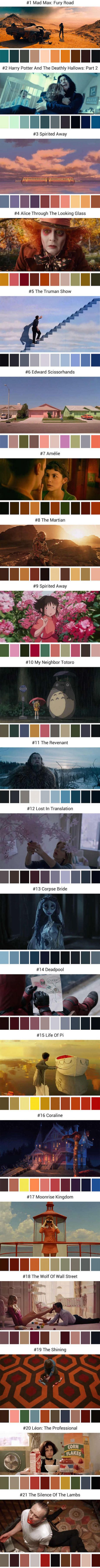 Color Palettes Compiled From Famous Movie Scenes (By cinemapalettes)
