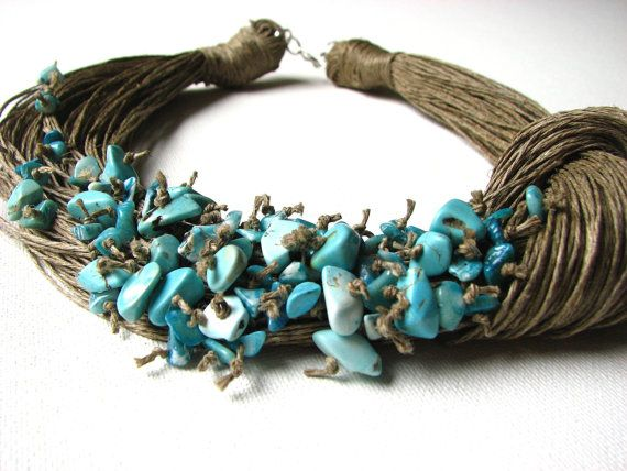 NatuRal TuRqUoiSe BIG linen necklace by GreyHeartOfStone on Etsy