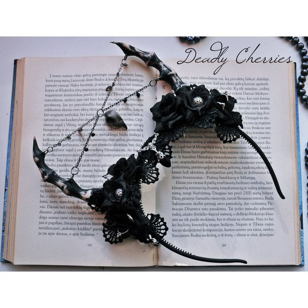 Dark Mori Gothic Lolita fantasy succubus horns flower hair band ($69) ❤ liked on Polyvore featuring accessories, hair accessories, hair band headband, flower headwrap, flower headbands, gothic hair accessories and head wrap headbands