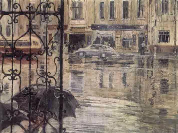 Pimenov, Yuri Ivanovich (1903-1977. Пименов. Проливной дождь, 1957.
