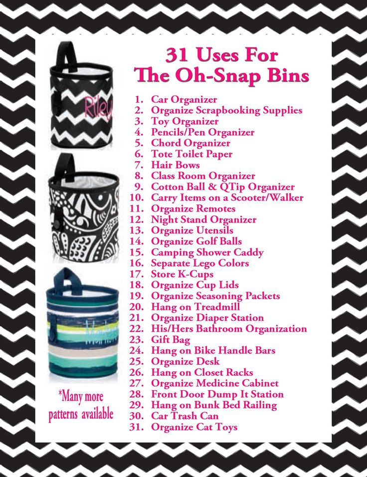 Thirty One uses for Oh-Snap Bins.