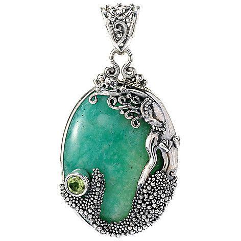 146-941 - Offerings Sterling Silver 29 x 21mm Oval Gemstone Mermaid Pendant