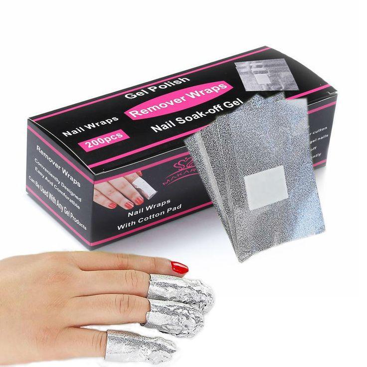 MAKARTT 200Pcs/Box UV Gel Nail Polish Remover Nail Art Soak Off Nail Wraps At-home Gel Nails Manicure F0347