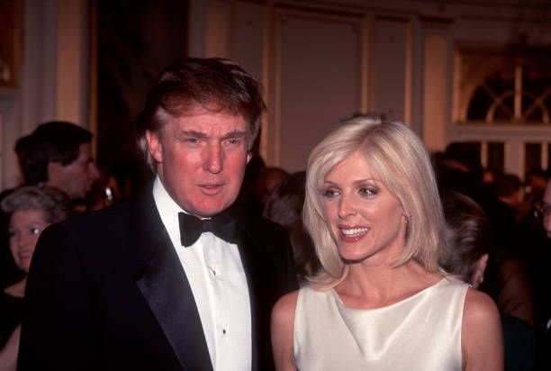 Portrait of married couple Donald and Marla Trump as they attend a benefit for the Fisher Center for Alzheimer's Research at the restaurant Le Cirque...