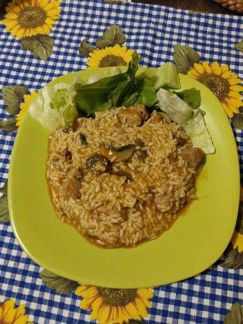Gombás rizses hús